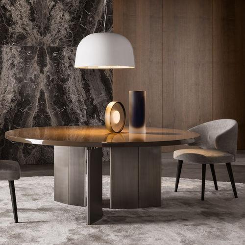 moderner Tisch / aus Eiche / Bronze / rund