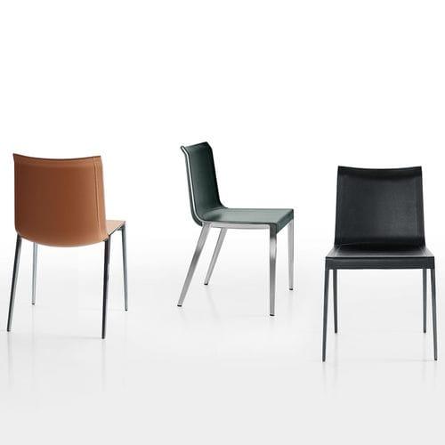 moderner Stuhl / Leder / Aluminium / braun