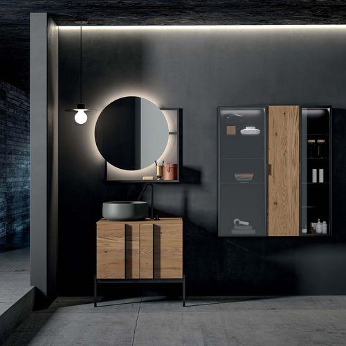 freistehender Waschtisch-Unterschrank / Holzfurnier / modern / mit Spiegel
