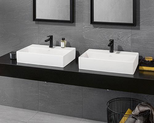 doppeltes Waschbecken / Aufsatz / rechteckig / Keramik