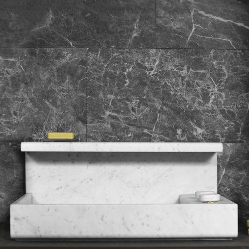 Aufsatzwaschbecken / rechteckig / aus Marmor / originelles Design
