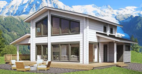 Fertigbauhaus / modern / Massivholz / mit 2 Ebenen