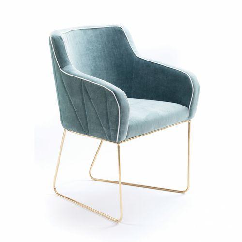 moderner Stuhl / mit Armlehnen / Kufen / Stoff