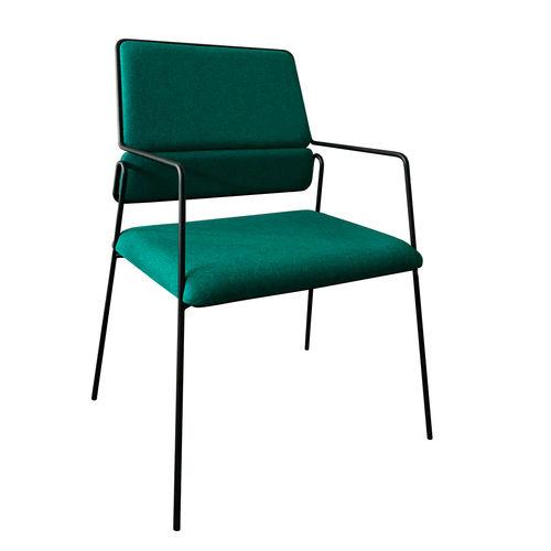 moderner Stuhl / mit Armlehnen / Stapel / Stoff