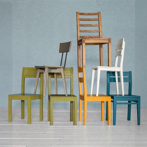 moderner Stuhl / Polster / Holz / Leder