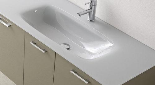 Hängend-Waschtischunterschrank / Glas / Holz / modern - DEPTH 50 ... | {Waschtischunterschrank holz hängend 120 16}