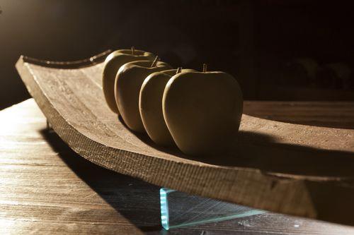 Glas-Tischdekoration / Holz