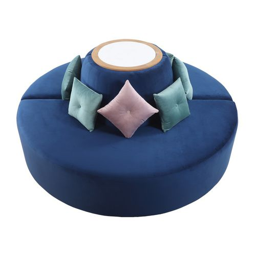 rundes Sofa / modern / Stoff / Massivholz