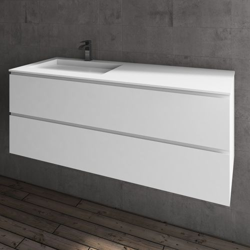 wandmontierter Waschtisch-Unterschrank / MDF / aus Corian® / modern
