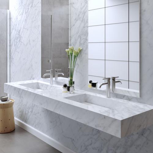 Carrara-Marmor-Waschbecken / doppelt / wandmontiert / rechteckig