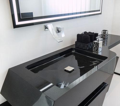 Wand-Waschbecken / rechteckig / aus Granit / modern