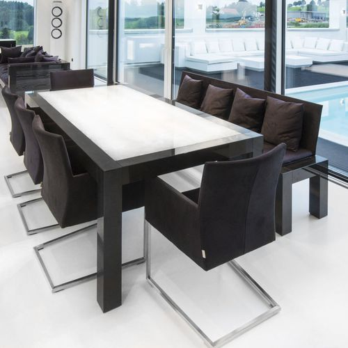 moderner Esstisch / aus Granit / rechteckig / LED beleuchtet
