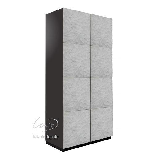 moderner Kleiderschrank / hochglanzlackiertes Holz / Metall / aus Granit