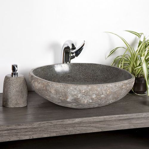Aufsatzwaschbecken / kreisförmig / Naturstein / modern