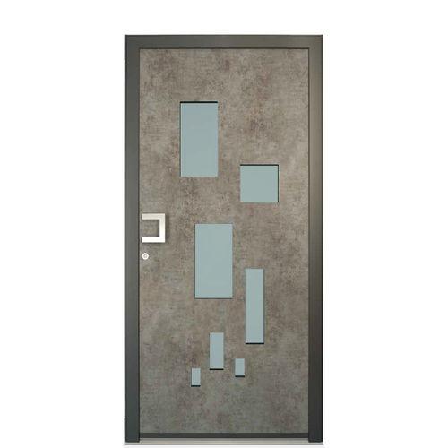 Eingangstür / einflügelig / Aluminium / PVC
