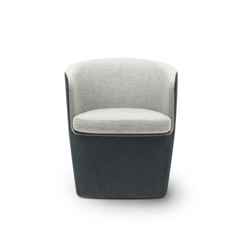 moderner Sessel / Stoff / Leder / schwarz