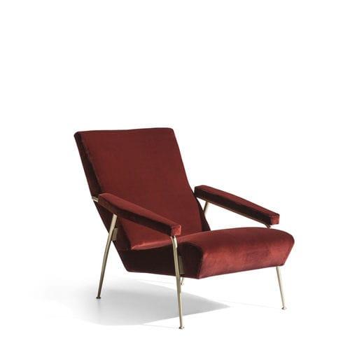 moderner Sessel / Stoff / Leder / Messing