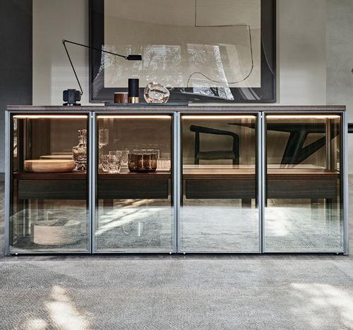 moderner Geschirrschrank / Glas / Aluminium