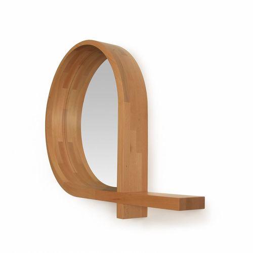 wandmontierter Spiegel / modern / aus Eiche / aus Nussbaum