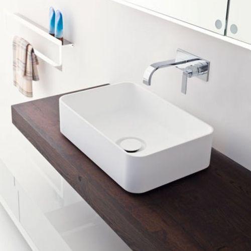 Aufsatzwaschbecken / rechteckig / Verbundwerkstoff / modern