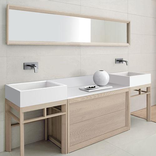 doppelter Waschtisch-Unterschrank / freistehend / aus Esche / modern