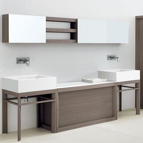 doppeltes Waschbecken / Aufsatz / rechteckig / Mineralwerkstoff