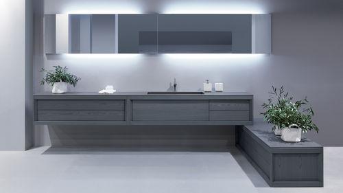 doppelter Waschtisch-Unterschrank / hängend / aus Esche / modern