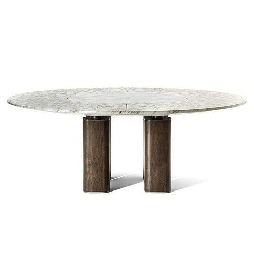 moderner Tisch / Holz / Stahl / aus Marmor