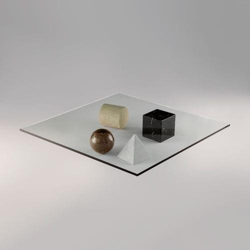 Couchtisch / originelles Design / Glas / quadratisch / Innenraum