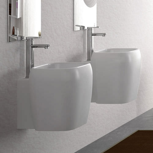 Wand-Waschbecken / quadratisch / Keramik / modern SHUI by Paolo d'Arrigo Ceramica Cielo