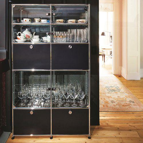 moderner Geschirrschrank / Glas / Metall