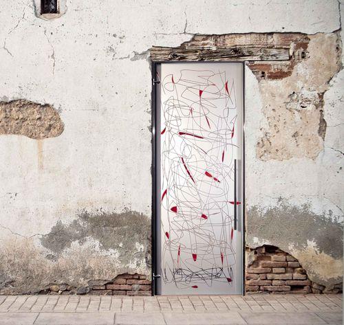 Innenbereich-Tür / einflügelig / Glas / Dekor