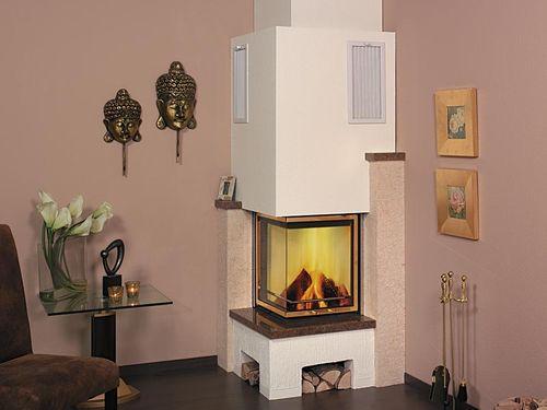 Holzkamin / traditionell / geschlossene Feuerstelle / für Ecken