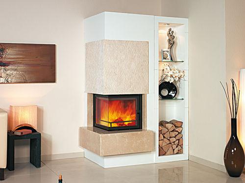 Holzkamin / modern / geschlossene Feuerstelle / für Ecken