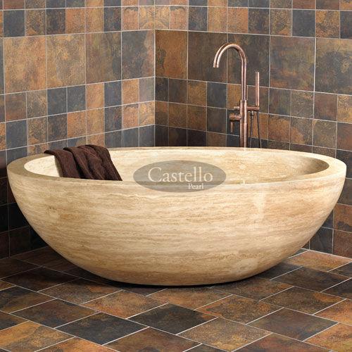freistehende Badewanne / oval / aus Naturstein
