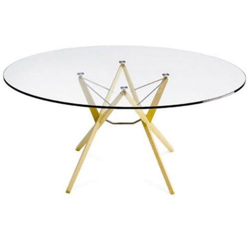 moderner Tisch / aus Eiche / aus Wenge / Glas