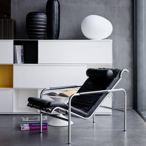 moderner Sessel / Leder / Stahl / Polyurethan