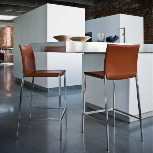 moderner Barstuhl / mit Fußstütze / mit abnehmbaren Bezug / Aluminium