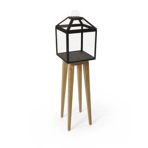 moderne Vitrine / hochbeinig / aus Eiche / Glas