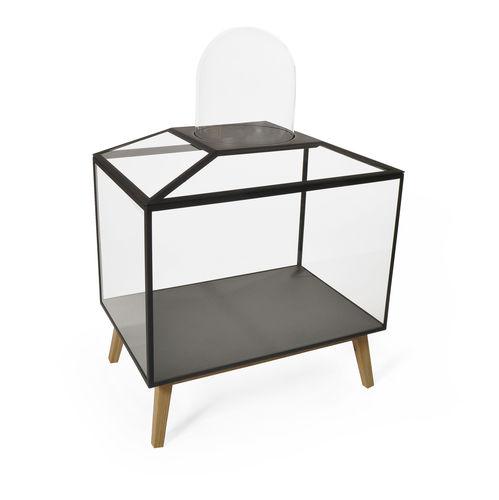 Vitrine / originelles Design / mit Fußgestell / aus Eiche / Glas STEEL CABINET 5 by Sylvie Meuffels JSPR