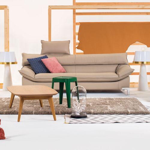 modernes Sofa / Leder / verchromtes Metall / Stoff