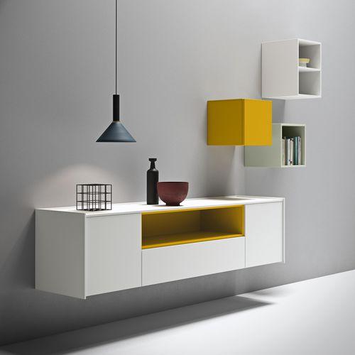 wandmontiertes Sideboard / modern / lackiertes Holz / weiß