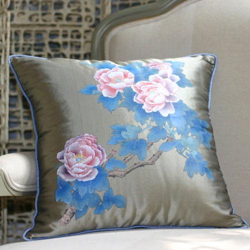 Möbelstoff / Blumenmotive / Doupion-Seide