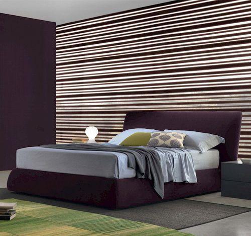 Doppelbett / modern / gepolstertes Kopfteil / mit Kopfteil aus Leder
