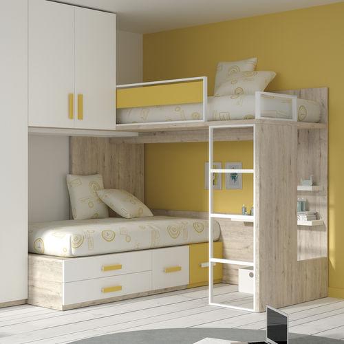 Eck-Etagen-Bett / Einpersonen / modern / für Kinder (Unisex)