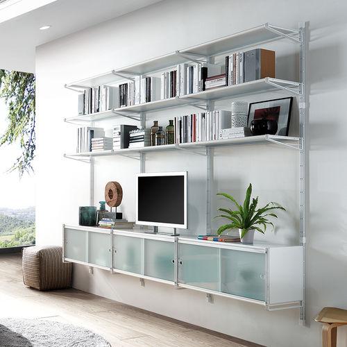 Modul-Bibliothek / wandmontiert / modern / Metall