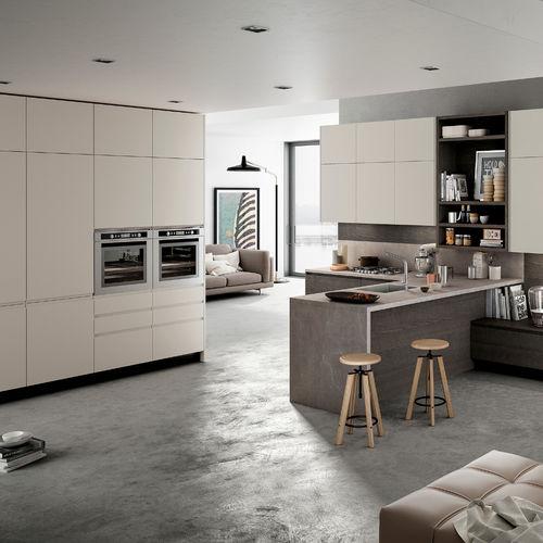 moderne Küche / aus Acryl / Holzfurnier / L-förmig