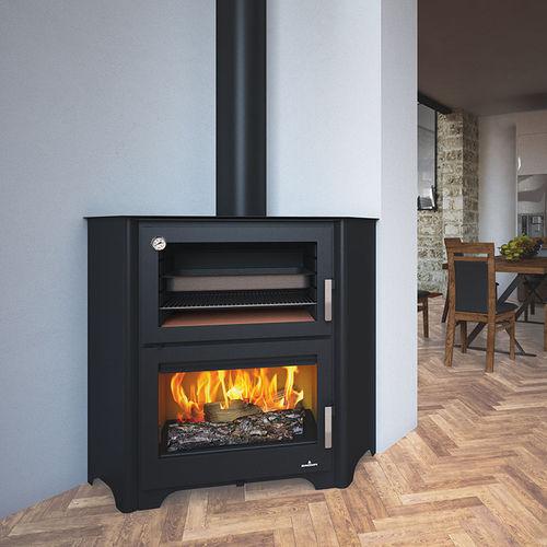 Holz-Kaminofen / modern / für Ecken / Stahl