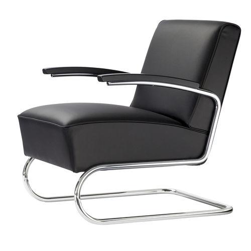 moderner Sessel / Stahl / Leder / Stoff