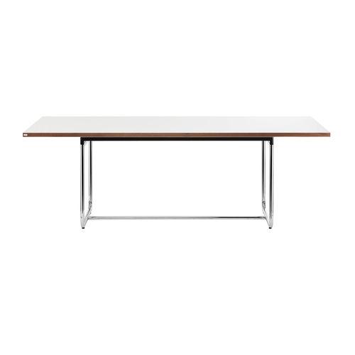 moderner Tisch / Stahl / Massivholz / HPL